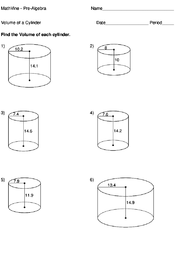 Volume of a Cylinder - MathVine.com
